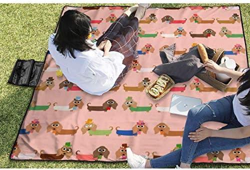 Suo Long Coperta da Picnic Divertente Dottore Dachshunds in Pink Picnic Mat Beach Blanket