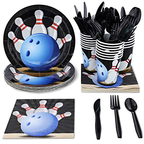 Bowling Birthday Party Supplies (Juvale Kids Bowling Birthday Party Supplies Set - Plates, Knives, Spoons, Forks, Napkins, and Cups, Serves)
