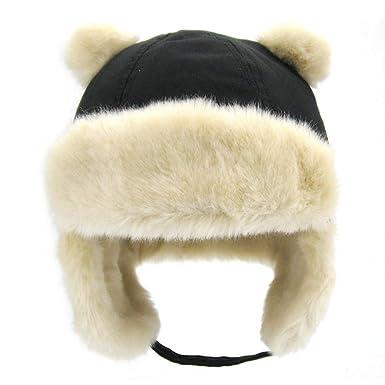 Children Earflap Trooper Hat Cap Kids Winter Ushanka Faux Fur Trapper Hat  Size S (Black 299b761cc37