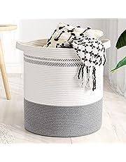 "Goodpick Cotton Rope Basket, 18""×16"" Laundry Hamper Basket Woven Wicker Basket for Throws Pillows Large Storage Basket with Handles Blanket Basket for Living Room Toy Basket for Nursery Décor"