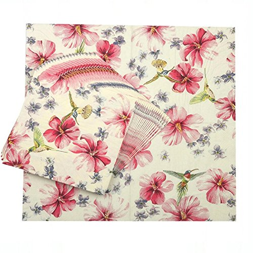 WallyE Christmas Flower and Bird Paper Napkins for Thanksgiving Tea Party Birthday or Wedding, 20 Pack (Christmas Folding Napkins)