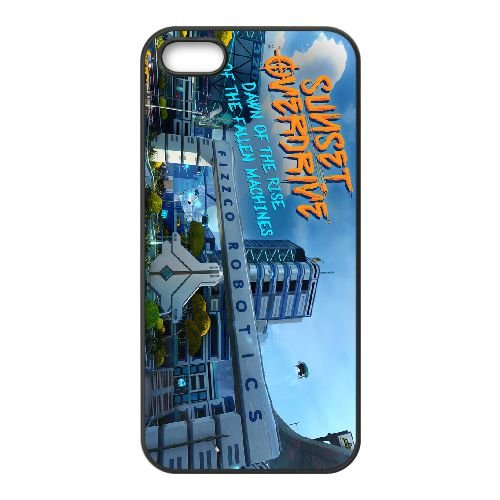 Sunset Overdrive 4 coque iPhone 5 5s cellulaire cas coque de téléphone cas téléphone cellulaire noir couvercle EEECBCAAN05976