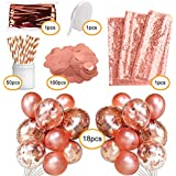 The Weekend Collection Rose Gold Party Decorations | 171 Pack | 18 Balloons -18 Inches | Table Runner | 50 Paper Straws | Foil Curtain | Glitter Confetti |