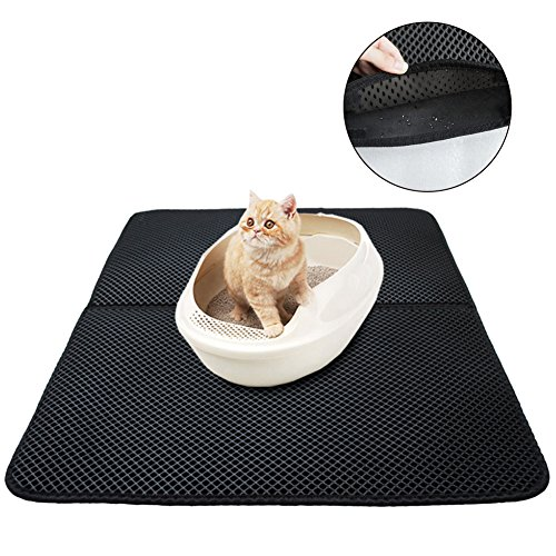 Cat Litter Trapper Kitty Litter Mat, Double-Layer Honeycomb Scatter Control Mat - Protect Floor and Carpet Urine Proof, Odor Resistant, Prevents Litter Scatter