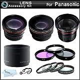 58mm Fisheye All In Lens Kit For Panasonic Lumix DMC-FZ60, DMC-FZ60K Digital Camera Includes Lens Adapter + 0.21x Super Wide Angle Fisheye lens + HD .43x Wide Angle Lens + 2.2x Telephoto Lens + 3 PC Filter Kit (UV, CPL, FLD) + Close Up Kit +1 +2 +4 +10 +