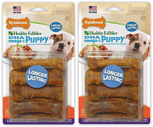 NylaboneS 2 Pack of Healthy Edibles Turkey and Sweet Potato Puppy Chew Treats, 8 Treats Per Pack