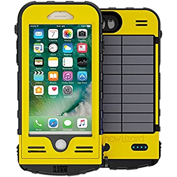 SnowLizard SLXtreme iPhone 7 Case. Solar Powered, Rugged and Waterproof with a built in Battery - Emergency Yellow