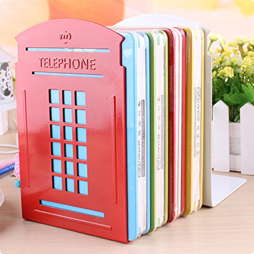 Bookends red pair non slip heavy metal durable sturdy strong books organizer telephone booth - Sturdy bookends ...
