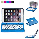 iPad Mini 4 Retina 135 Degree Rotatable Keyboard Case, iNNEXT - Ultra Slim Keyboard Cover Case with Bluetooth Connectivity (Blue) For Apple iPad Mini 4 Retina
