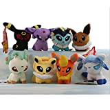 Pack of 8 Pcs Plush Soft Toy Stuffed Animal Figures Poke Doll 5' Glaceon Leafeon Flareon Espeon Umbreon Eevee Vaporeon Jolteon