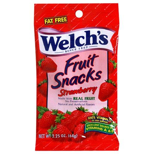 Welch's Fruit Snacks, Strawberry, 2.25-Ounce Pouches (Pack of 48)