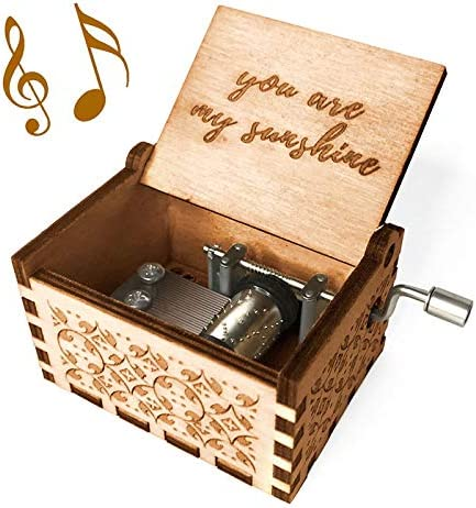 Kafete Music Box Hand Crank Engraved Musical Box-U R My Sunshine Mechanism Antique Vintage Personalizable Gift for Mom from Daughter