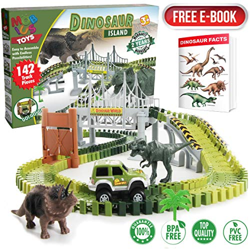 Dinosaur World Race Tracks - 142 Piece Playset, Toy Slot Car & 2 Dinosaur Toys + Storage Bag - Create a Jurassic Road Park Track with Bridge and Gate, for All Kids, Boys & Girls