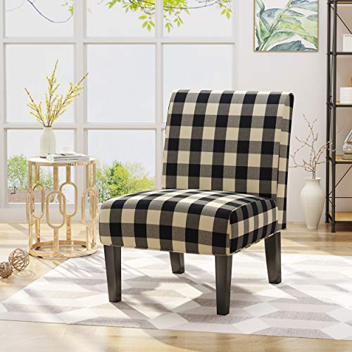 Kendal Traditional Upholstered Farmhouse Accent Chair, Black Checkerboard