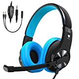 Bovon Gaming Headset for PS4 Xbox One, Lightweight Stereo Over Ear Headphones with Mic, Volume Control, Noise Isolation, Adjustable Headband, 3.5mm Jack for Smart phones Laptop PC Mac