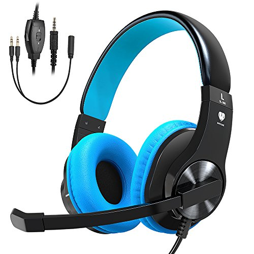 Stereo Volume Controller (Bovon Gaming Headset for PS4 Xbox One, Lightweight Stereo Over Ear Headphones with Mic, Volume Control, Noise Isolation, Adjustable Headband, 3.5mm Jack for Smart phones Laptop PC Mac)