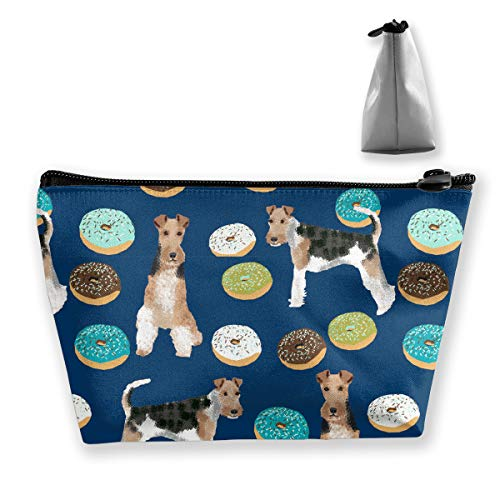 - Women Girls Storage Bag Pouch for Cosmetics Jewelry Travel, Large Capacity Cosmetic Train Case Multipurpose Travel Bag Waterproof Makeup Pouch (Wire Fox Terrier)