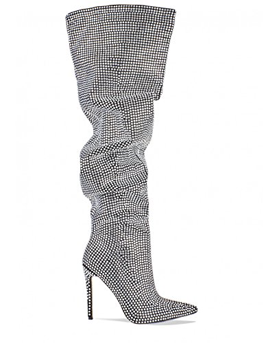 LAMODA Womens Diamante Embellished Thigh High Slouch Boots in Faux Suede Black NvrACmhBhI