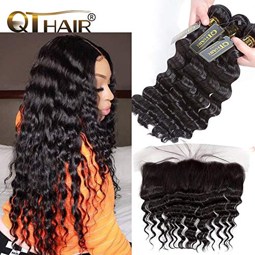 QTHAIR 10a Virgin Peruvian Loose Deep Wave Human Hair with Frontal(18 20 22+16 Frontal,Natural Black)100% Unprocessed Peruvian Loose Deep Wave Human Hair Weaves with Swiss Lace Closure Baby Hair