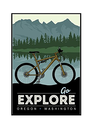 Oregon and Washington - Go Explore - Bike (16x24 Framed Gallery Wrapped Stretched Canvas) by Lantern Press