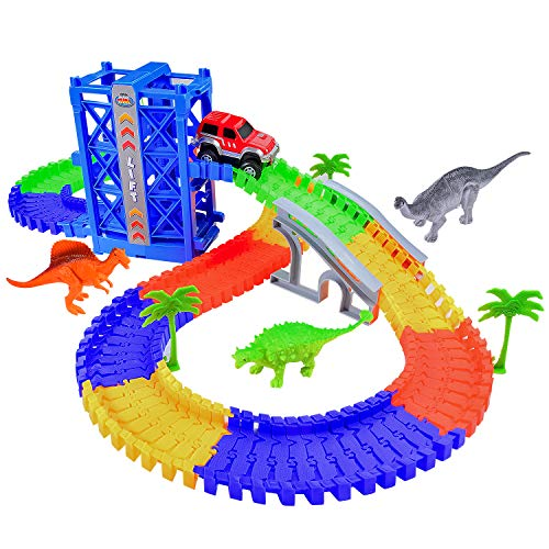 Fulljion Slot Car Race Track Large Lift Fast Sprint Flexible Track Playset Dinosaur World 120pcs 6.6ft Toy Train Set Tracks for Boys Girls Gifts (1pcs Battery Included for Car)