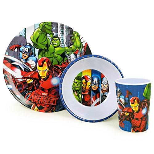 Disney Marvel Avengers Superhero Childrens 3 Piece Dinnerware Set - Plate, Bowl, Mug (Avengers Children)