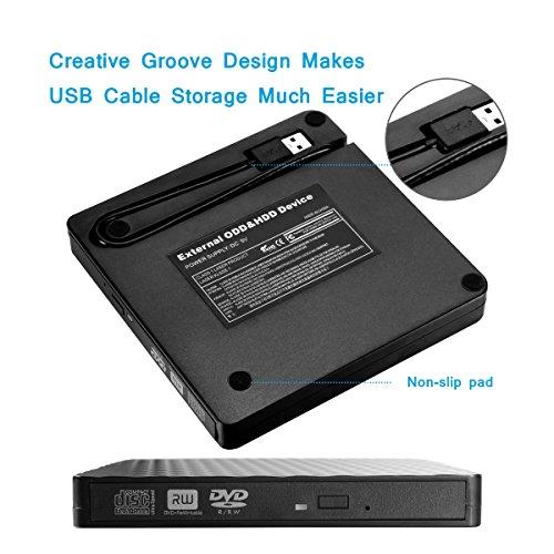 External DVD Drive Player for Laptop, Sibaok USB 3.0 External CD Optical Drive, Slim Portable CD-RW DVD-R Combo Burner Writer Player for Notebook PC Desktop Computer, Black by Sibaok (Image #2)