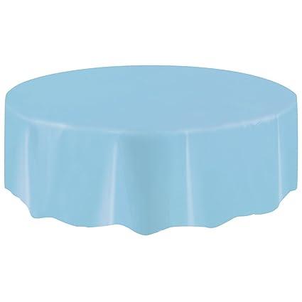 Round Plastic Tablecloth, 84u0026quot;, Light Blue