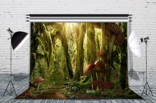 LB Jungle Forest Backdrops for Photography 9x6ft Green Virgin Forest Vinyl Photo Booth Backdrops for Wedding Birthday Party Photo Studio Backgrounds Props