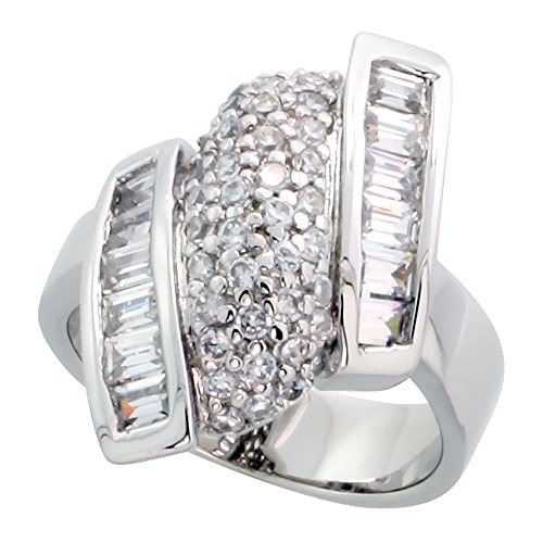 (Sterling Silver Diamond-shaped Cocktail Ring, & Rhodium Plated w/ 12 Baguette & 40 Round Cubic Zirconia Stones, 1 inch (24 mm) wide, size 9)