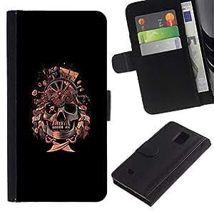 All Phone Most Case / Oferta Especial Cáscara Funda de cuero Monedero Cubierta de proteccion Caso / Wallet Case for Samsung Galaxy Note 4 IV // Pirate Skull Flag