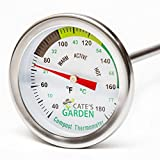 Compost Thermometer - Cate's Garden Premium Stainless Steel Bimetal Thermometer for Backyard Composting - 2 Inch Diameter Fahrenheit Dial, 20 Inch Temperature Probe