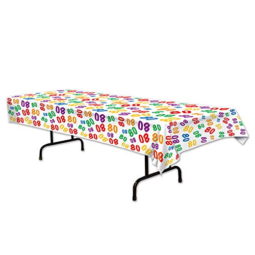 Beistle 80 Tablecover, 54 by 108-Inch, (80th Table Decorations)