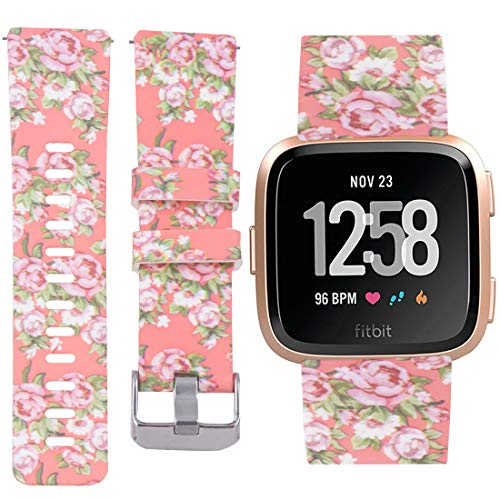 Allbingo Fitbit Versa Cute Bands,Women Men Floral Replacement Strap Wristband Small Large for Fitbit Versa Smart Watch (Pink Romance, Small)