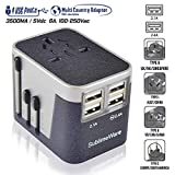 Travel Plug Adapter - 4 USB Charging Ports Wall Charger (Sand Black Grey)- for Type I, Type C, Type G, Type A EU US UK Power Adapter Plug - European Adapter Plugs - World Travel Plug Adaptor