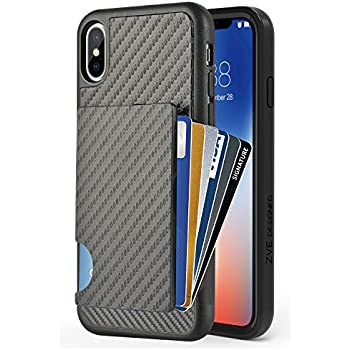 new product 299fb 688f9 ZVEdeng iPhone Xs Wallet Case, iPhone X Card Holder Case, Shockproof iPhone  Xs Credit Card Grip Cover with Carbon Fiber Design Money Pocket Slim ...
