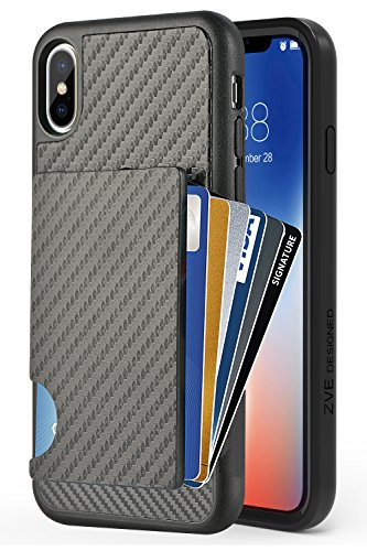 ZVEdeng iPhone Xs Wallet Case, iPhone X Card Holder Case, Shockproof iPhone Xs Credit Card Grip Cover with Carbon Fiber Design Money Pocket Slim Wallet Card Case for Apple iPhone Xs 5.8'' Black (Best Iphone 5 Card Case)