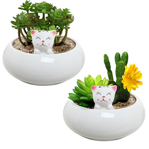 Set of 2 Mini White Ceramic Kitty Ornament Succulent Plant Pot / Tabletop Decorative Planter - MyGift - Ornament Trinket