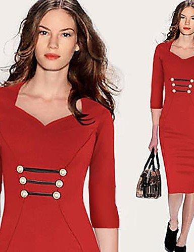 PU&PU Robe Aux femmes Gaine Sexy / Vintage / Soirée , Couleur Pleine Col en V Mi-long Coton / Spandex / Autres , blue-m , blue-m