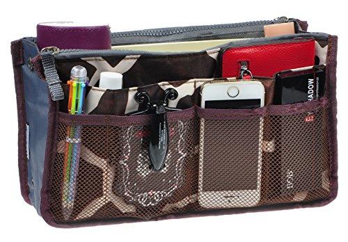 Purse Organizer,Insert Handbag Organizer Bag in Bag (13 Pockets 15 Colors 3 Size) (M, Coffee Striped)