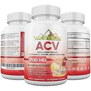 Amazon.com: Vicksson Apple Cider Vinegar Pills 1700 mg of