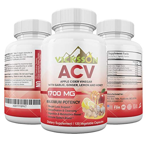 Vicksson Apple Cider Vinegar Pills 1700 mg of ACV with Garlic, Ginger, Lemon & Honey for Weight Loss, Detox, Cleanse, Appetite Suppressant, Metabolism & Immune Booster, Bloating Relief | 120 Capsules (Acv And Raw Honey For Weight Loss)