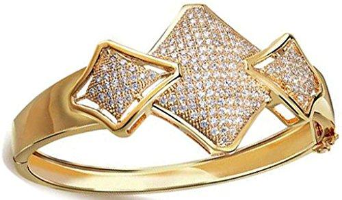 Beydodo Alloy Gold Plated Women's Bangle Bracelet Rhombus Shape Polish Cubic Zirconia Charm by Beydodo