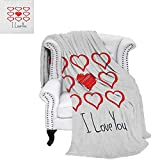 RomanticFlannel Single Student blanketHand Drawn Style Red Hearts Set with Scribble with I