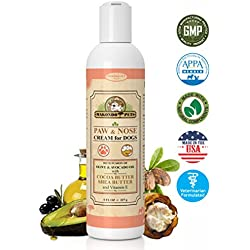 Dog Paw and Nose Cream - Moisturizing healing lotion for rough, dry or cracked pads and snouts. Protection for winter & summer -Wax, Fragrance Free - Hypoallergenic Natural Cocoa Shea Butter Vitamin E