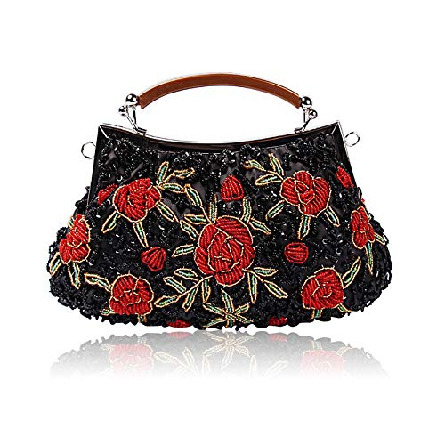Bridal Evening Women Party Bags Bag Handbag Exquisite Handmade Cluth Fadirew amp; Sequin Ball Ladies Beaded Bag Glitter Red Beads Wedding for Flora Black Vintage qwqH8TY