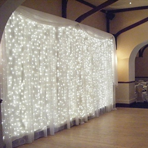 TORCHSTAR 18W Window Curtain Light, Icicles Christmas Fairy Light, 300 LEDs Extendable Starry Lights with 8 Modes, 6000K Pure White, for Festival/Wedding/Party/Garden]()