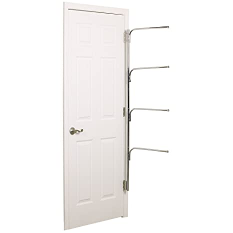 Chrome Behind the Door Clothing and Towel Rack Household Essentials H12003 Hinge It Clutterbuster Four Bar Hanging Valet