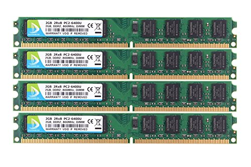DUOMEIQI 8GB Kit(4X 2GB)2RX8 DDR2 800MHz DIMM PC2-6300 PC2-6400 CL6 1.8v 240 Pin Non-ECC Unbuffered Desktop Memory RAM Module Compatible with Intel AMD (800 Mhz Dimm Memory)