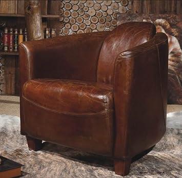 Phoenixarts Echtleder Vintage Sessel Ledersessel Braun Design Lounge ...